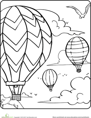 301x391 Hot Air Balloons In The Sky Worksheet