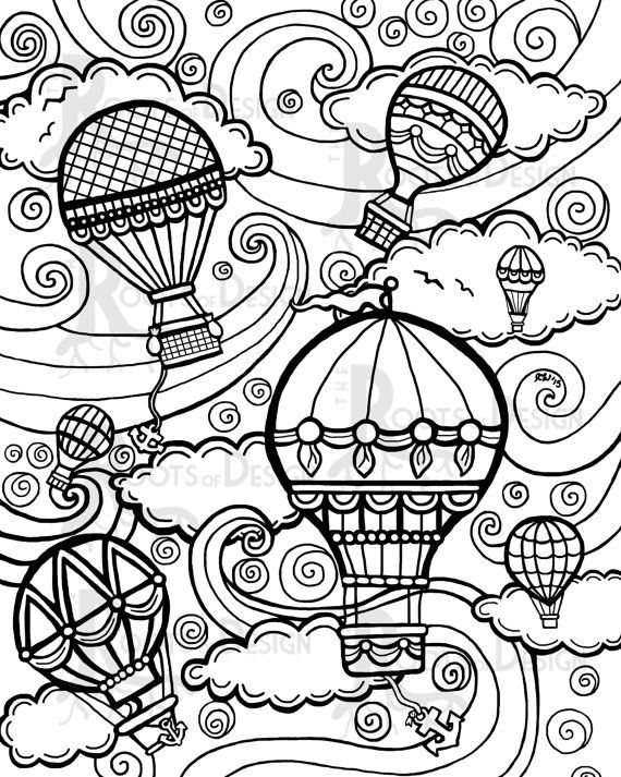 570x713 Coloring Pages Mountians Balloon