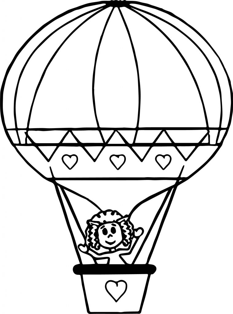 759x1024 Hot Air Balloon Black And White Coloring Page Free Printable Pages