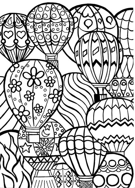 570x790 Coloring Page For Adults Hot Air Balloons Hand