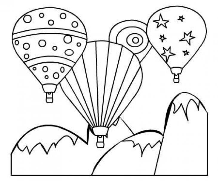730x608 Drawn Hot Air Balloon Colouring Page
