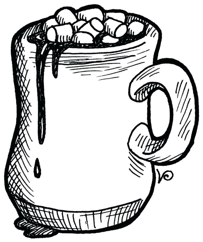 713x850 Hot Chocolate Coloring Page Hot Chocolate With Marshmallows Hot