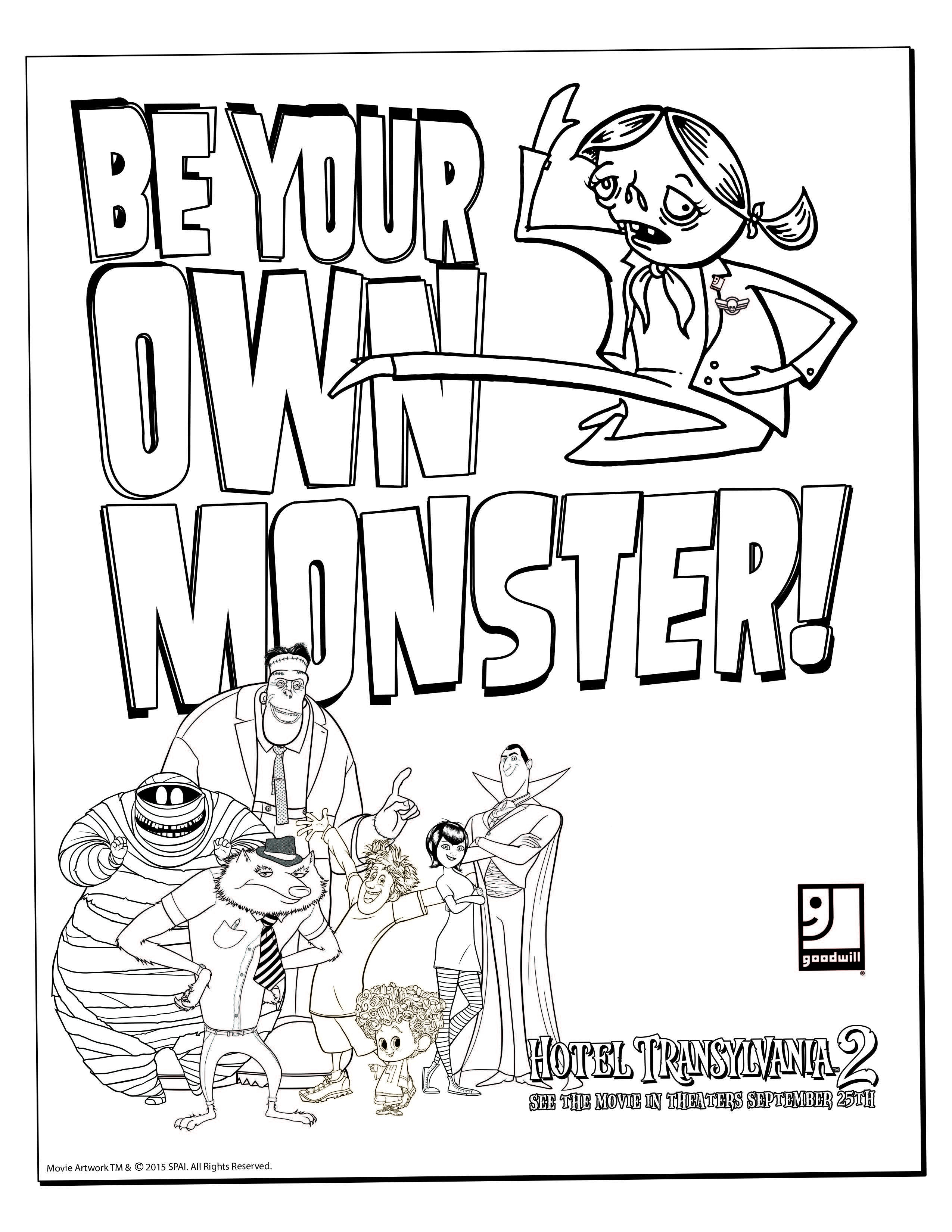 2550x3300 Hotel Transylvania Coloring Pages Masks And Inside