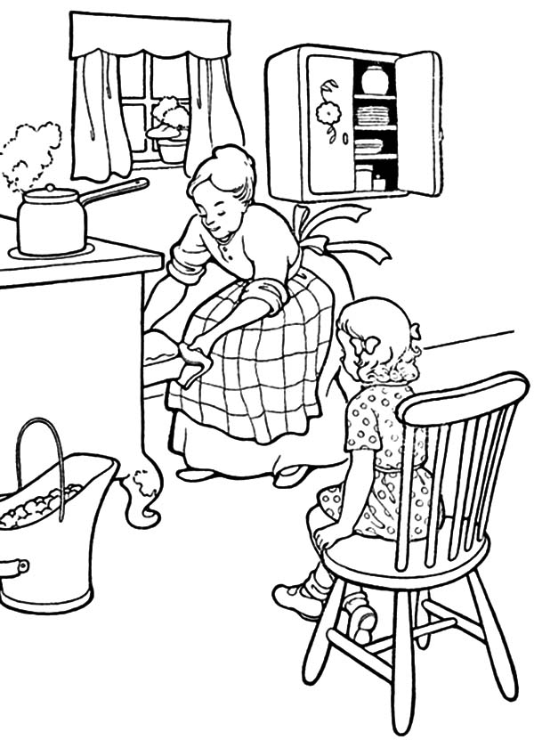 600x831 Mother And Daughter Baking Cookie In The Kitchen Coloring Pages