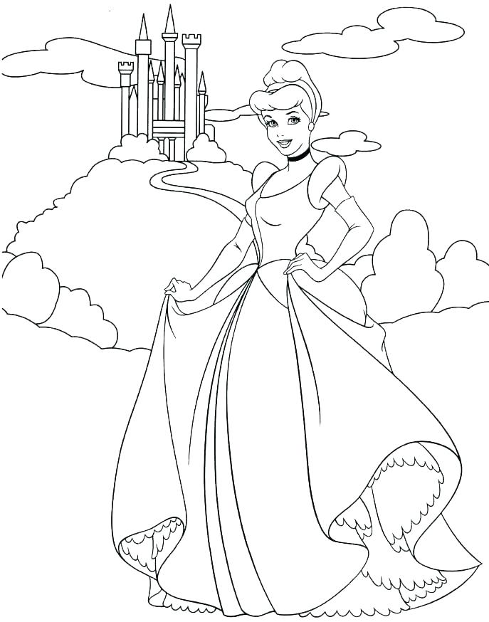 687x874 Cinderella Coloring Pages Cleaning The House Dressing Up Coloring