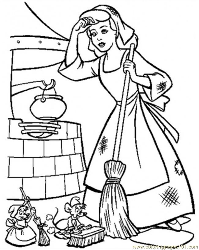 650x816 Cinderella Must Keep Her House Clean Coloring Page