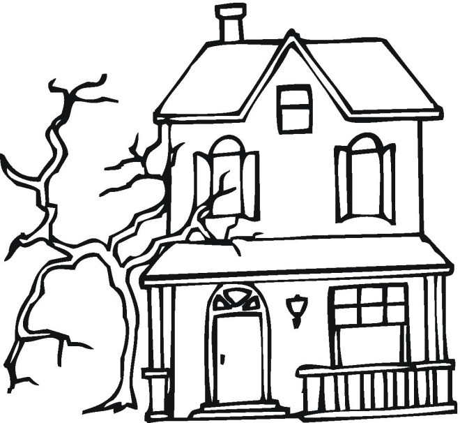 660x606 Haunted House Coloring Pages