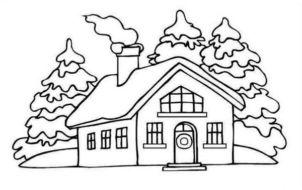 600x379 House Picture On Winter In Houses Coloring Page Color Luna
