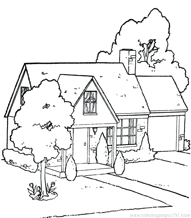 670x765 Houses Coloring Pages Farm House Coloring Pages Barn How To Draw