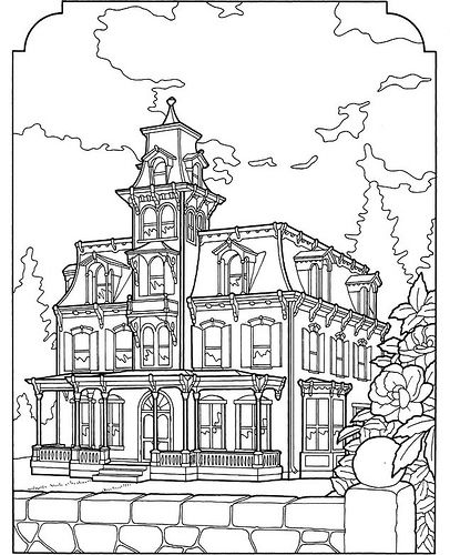 406x500 Victorian House Coloring Page