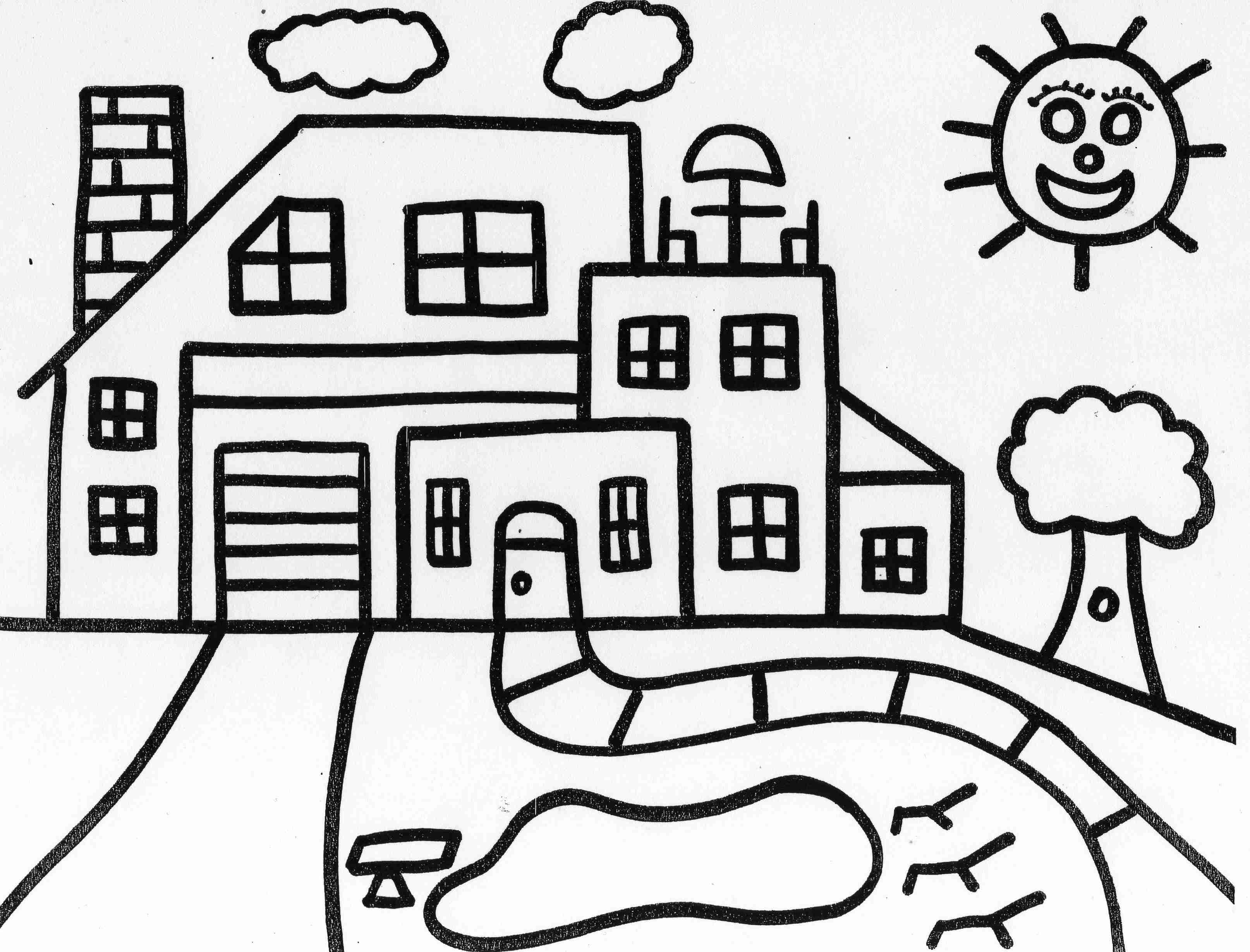 3228x2460 Free House Coloring Pages Tree Drawing Printable Adult Full