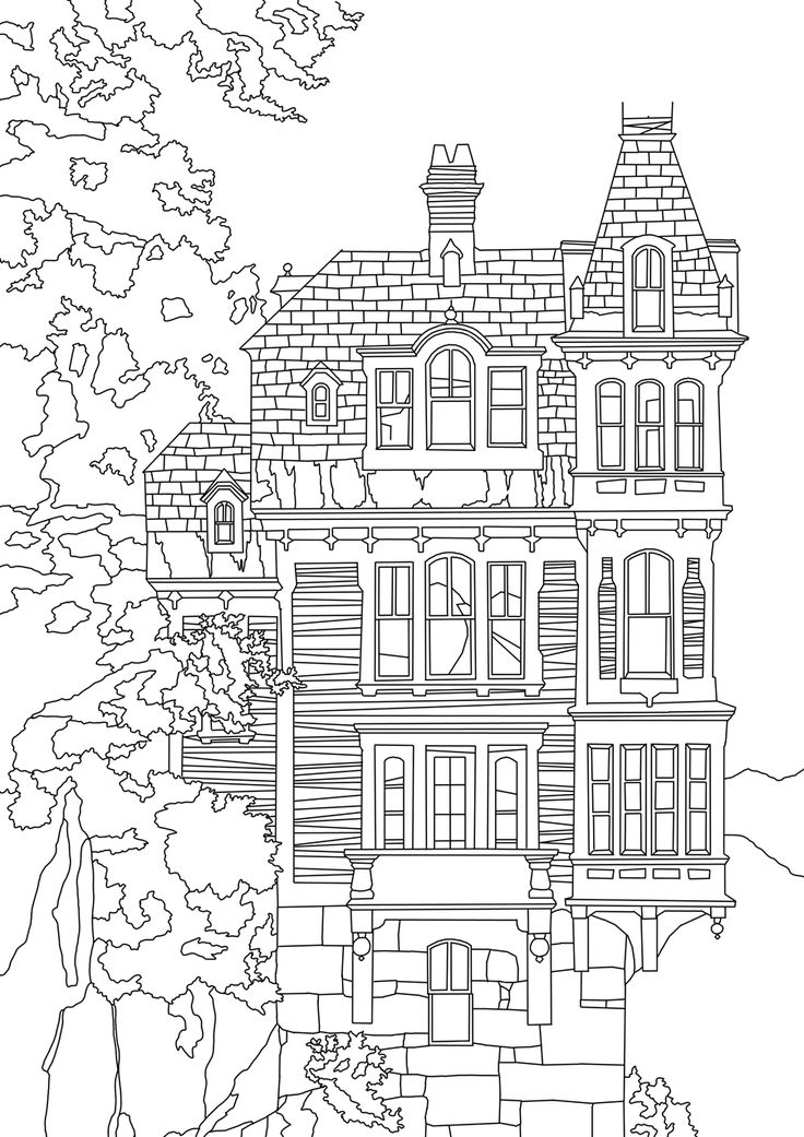 736x1041 Best Colouring Buildings Houses Cityscapes Landmarks