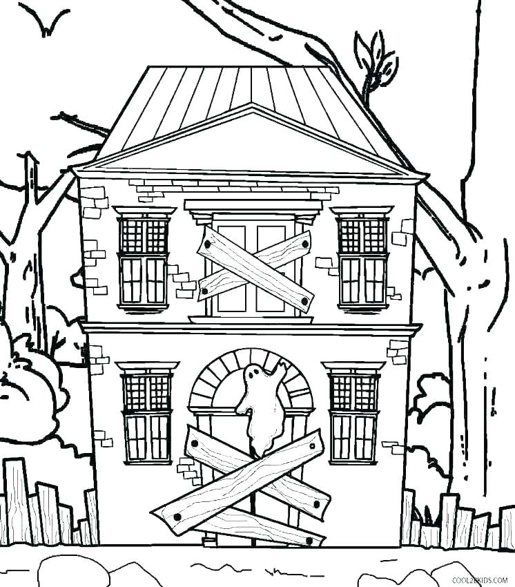 746x850 Little House Coloring Pages Haunted House Coloring Pages
