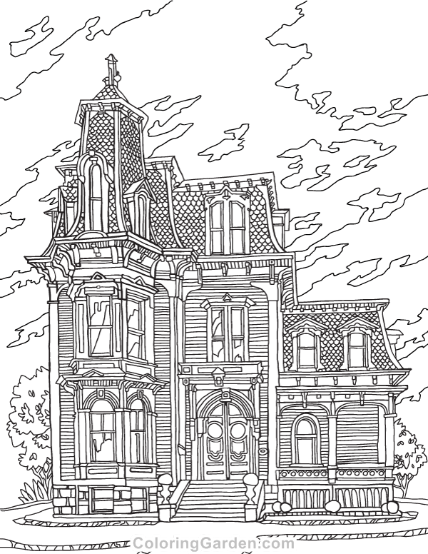 600x776 Victorian House Adult Coloring Page