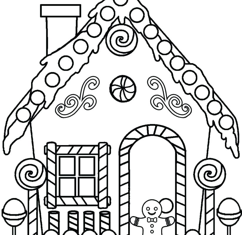 823x800 Gingerbread House Coloring Sheets Printables Free Download