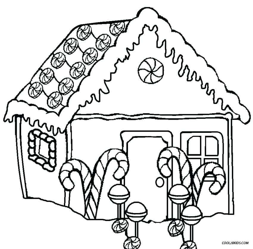850x838 Printable Gingerbread House Coloring Pages For Kids Free Coloring