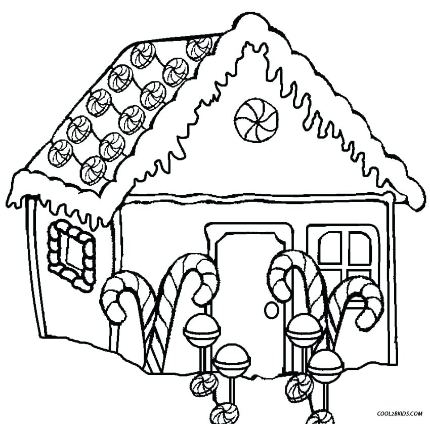 850x838 Gingerbread House Coloring Page Click The Gingerbread House