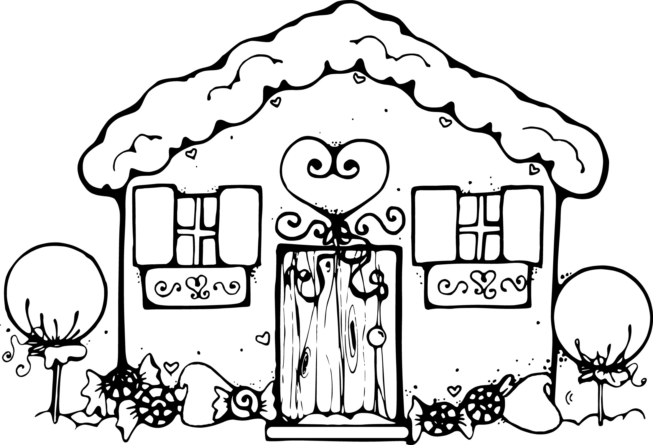 2215x1510 Gingerbread House Coloring Pages Preschool In Amusing Image Kids
