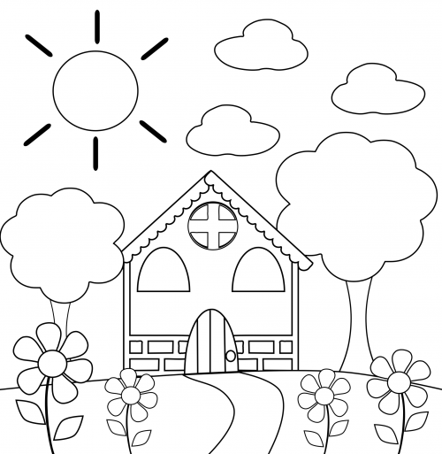500x513 Preschool Coloring Page House