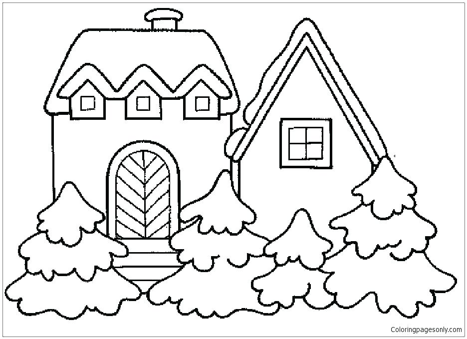 936x679 Haunted House Coloring Sheet