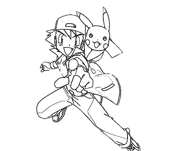600x500 Astonishing Pikachu Coloring Pages Charming Ash And Coloring Pages