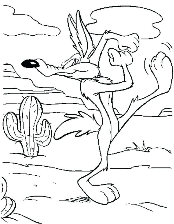 600x773 Coyote Coloring Pages Desert Coyote Coloring Page Tunes Pages Wile