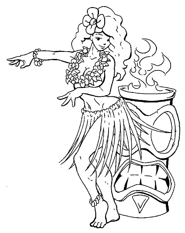 600x755 Hula Girl Perform Beside Fire Coloring Pages Sky Inside Page