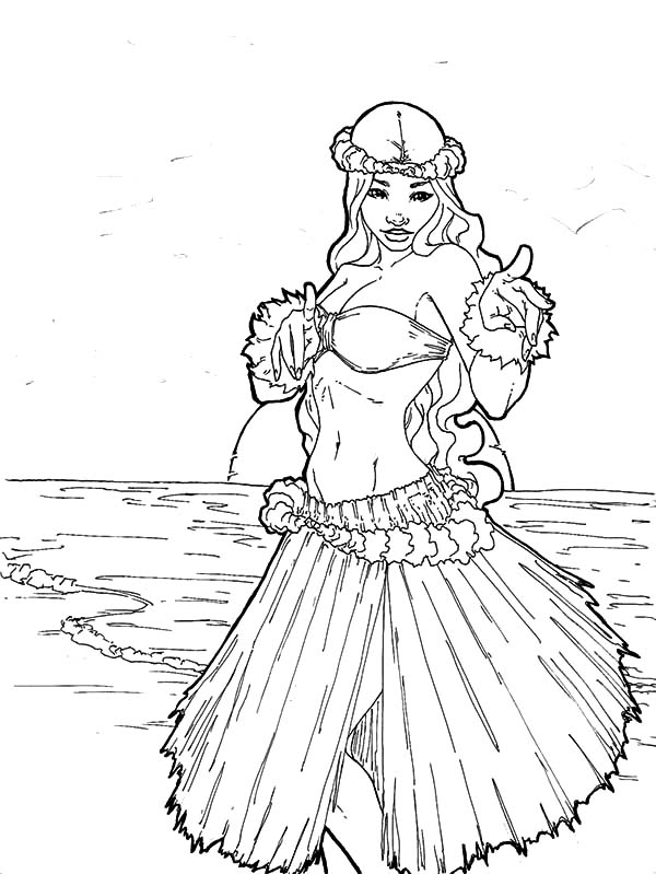 600x799 Hula Girl With Beach View Coloring Pages For Page Remodel