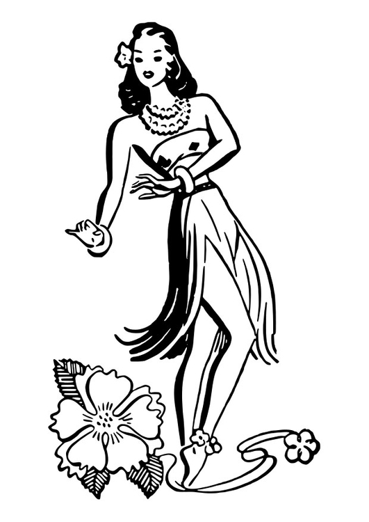 531x750 Coloring Page Hula Dancer