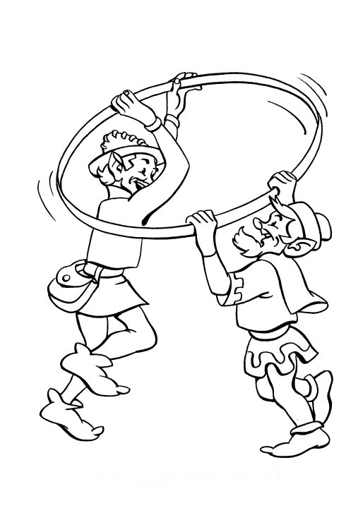 507x720 Printable Christmas Coloring Page Elves With Hula Hoop