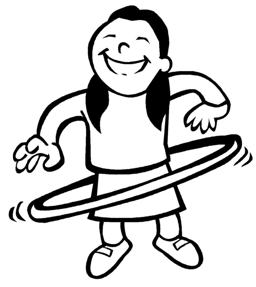 884x990 Girl With Hula Hoop Coloring Page