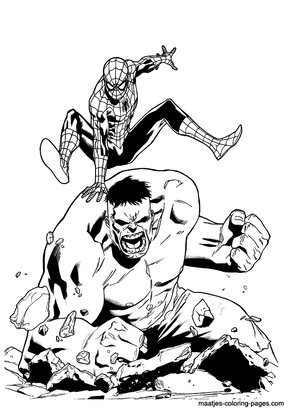 595x842 Hulk Vs Spider Man Coloring