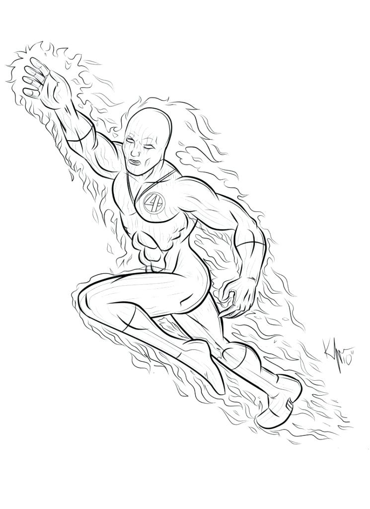 745x1024 Human Torch Coloring Pages The Human On Throughout Human Torch