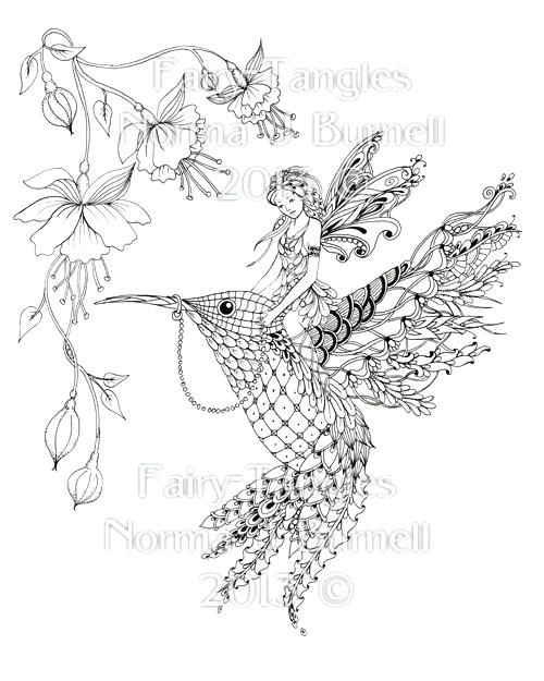 500x625 Coloring Pages Of Hummingbirds Magical Ride Fairy Tangles