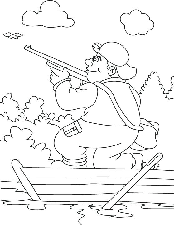 558x724 Printable Deer Hunting Coloring Pages A Hunter In The Boat Page