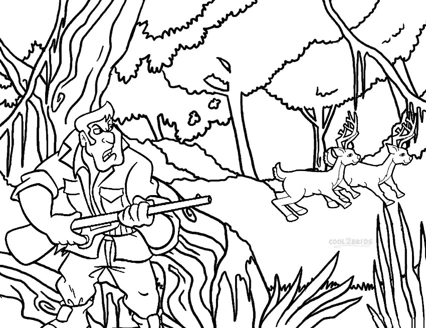 850x654 Printable Hunting Coloring Pages