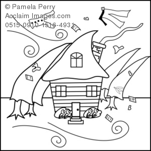 300x300 House In A Hurricane Coloring Page Royalty Free Clip Art Picture