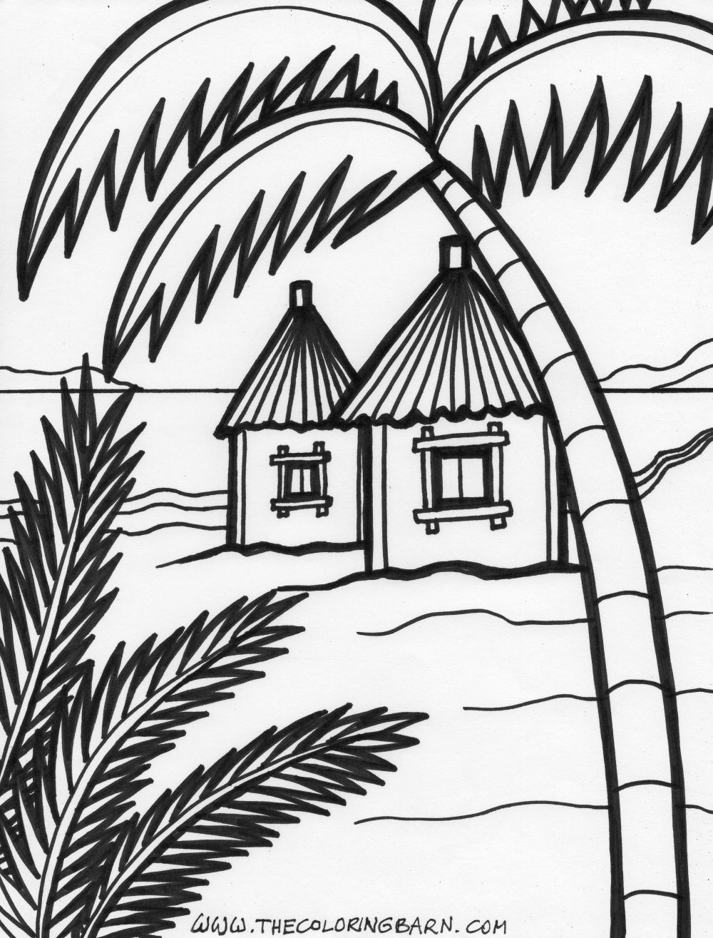 1000x1315 Hut Coloring Pages