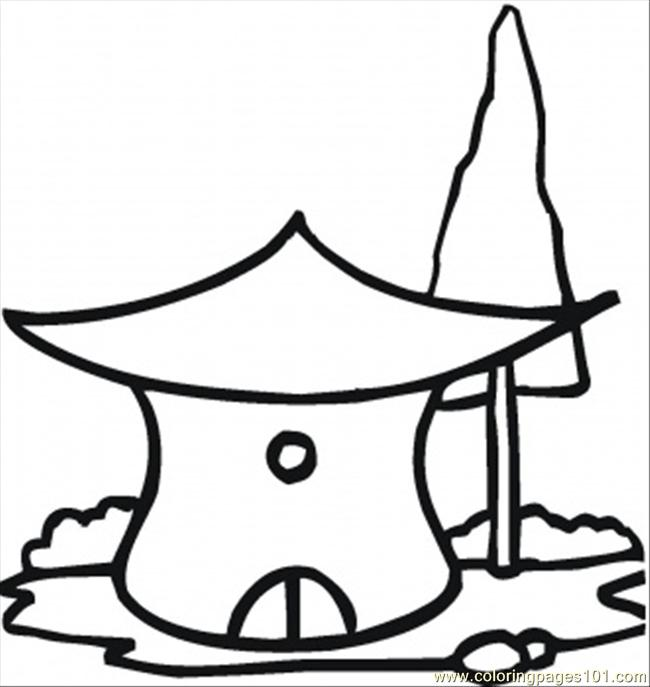 650x687 Hut Coloring Pages