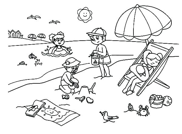 600x442 Beach Colouring In Beach Coloring Pages Entertaining Beach G Pages