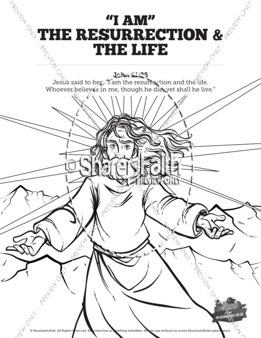 520x673 John I Am The Resurrection And The Life Sunday School Coloring