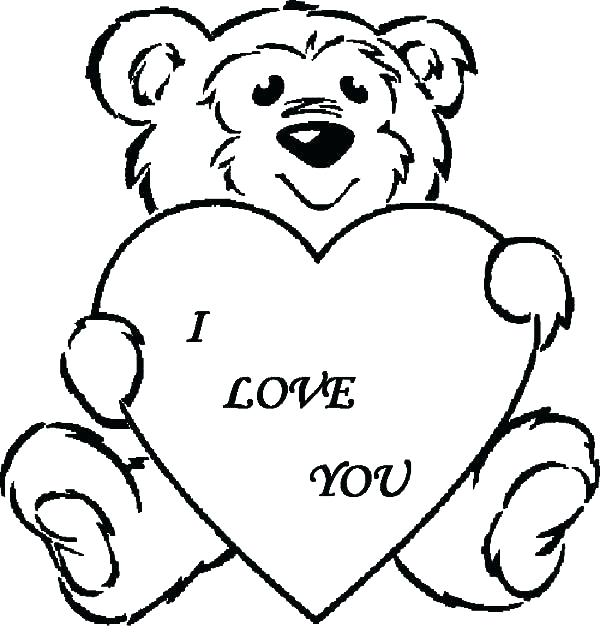 600x632 Bear With Heart Coloring Page I Love You Coloring Pages Together