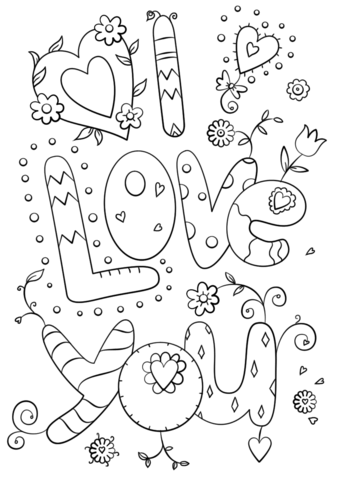 340x480 I Love You Coloring Pictures Free Printable I Love You Heart