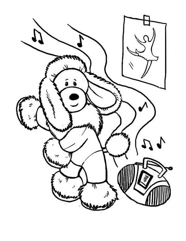600x777 This Funny Dog Learn To Dance Coloring Page