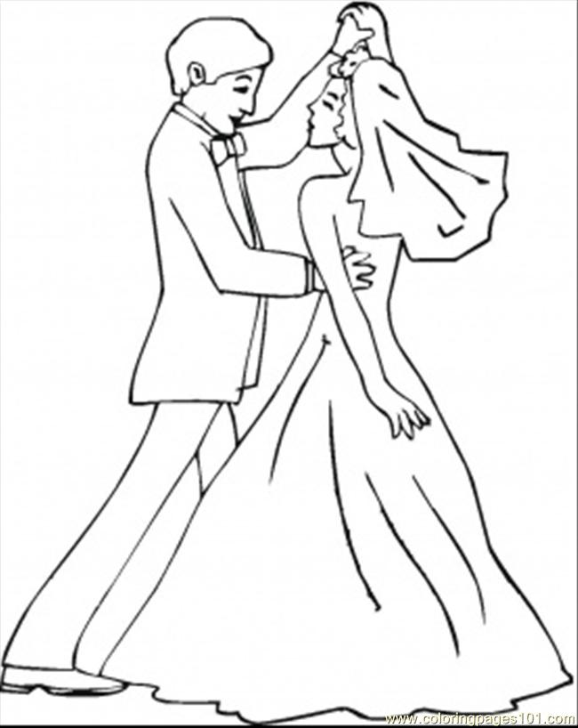 650x818 Wedding Dance Coloring Page