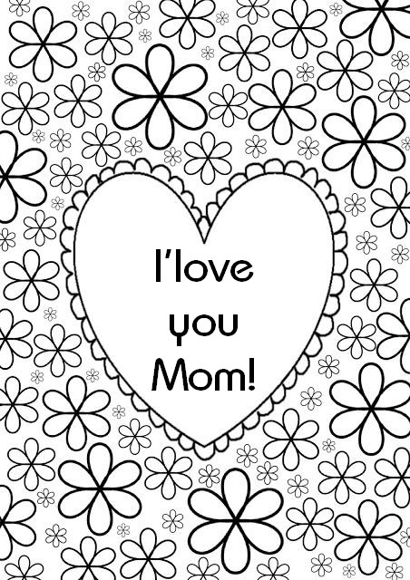 452x640 Geometric Hearts I Love You Mom Adult Coloring Pages Printable