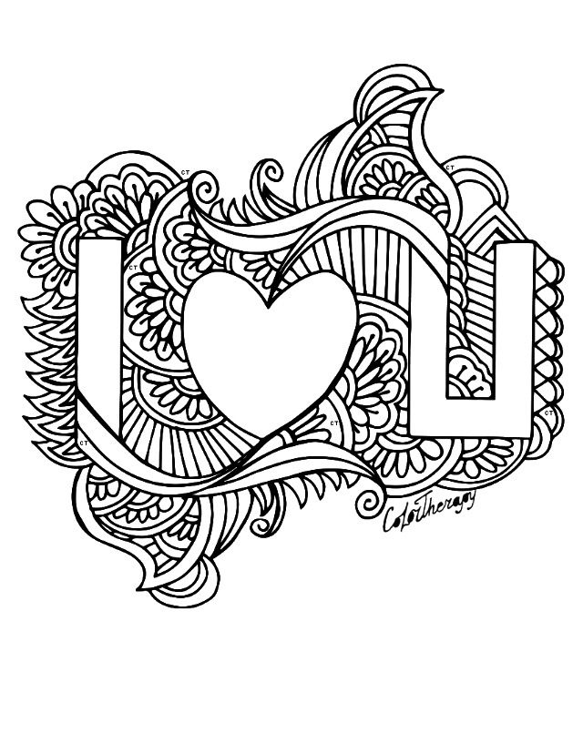I Love You Coloring Pages For Adults at GetDrawings.com ...