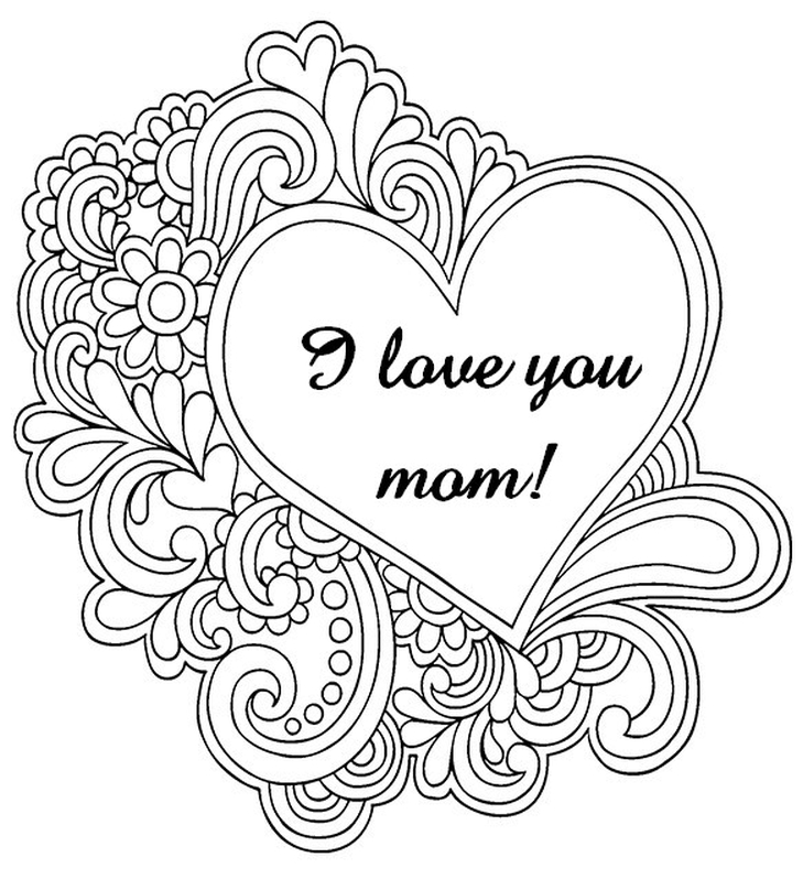 729x798 Intricate Heart Mothers Day Coloring Pages For Teenagers