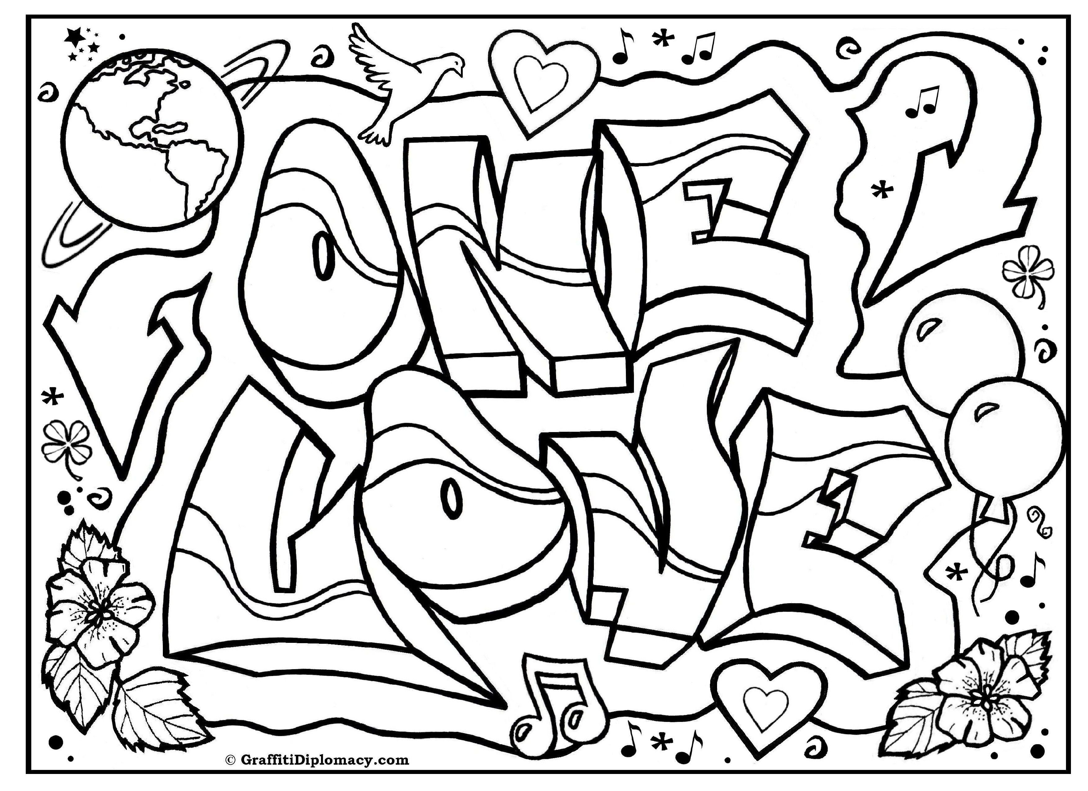 3508x2552 Cool One Love Graffiti Free Coloring Page Graffiti Printable Free