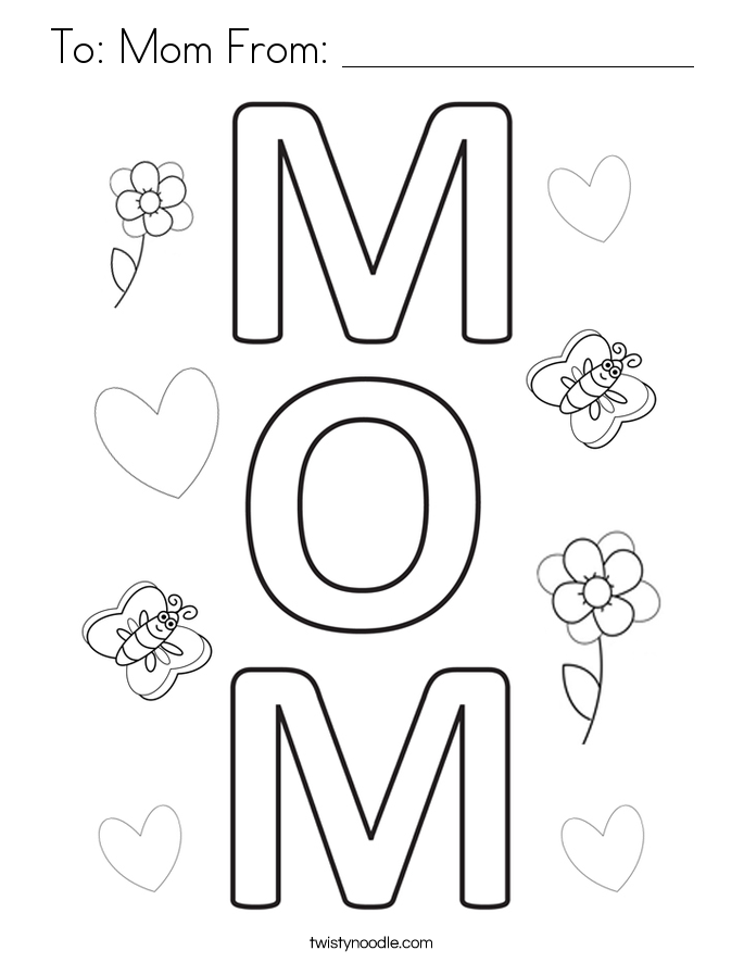 685x886 Mommy Coloring Pages The Words I Love You Mom